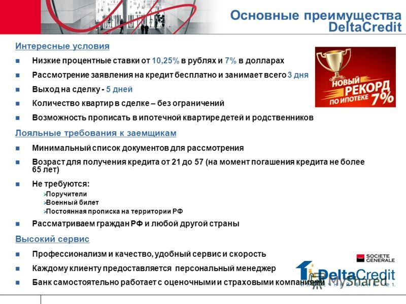 Интересные условия Низкие процентные ставки от 10,25% в рублях и 7% в долларах Рассмотрение заявления на кредит бесплатно и занимает всего 3 дня Выход на сделку - 5 дней Количество квартир в сделке – без ограничений Возможность прописать в ипотечной