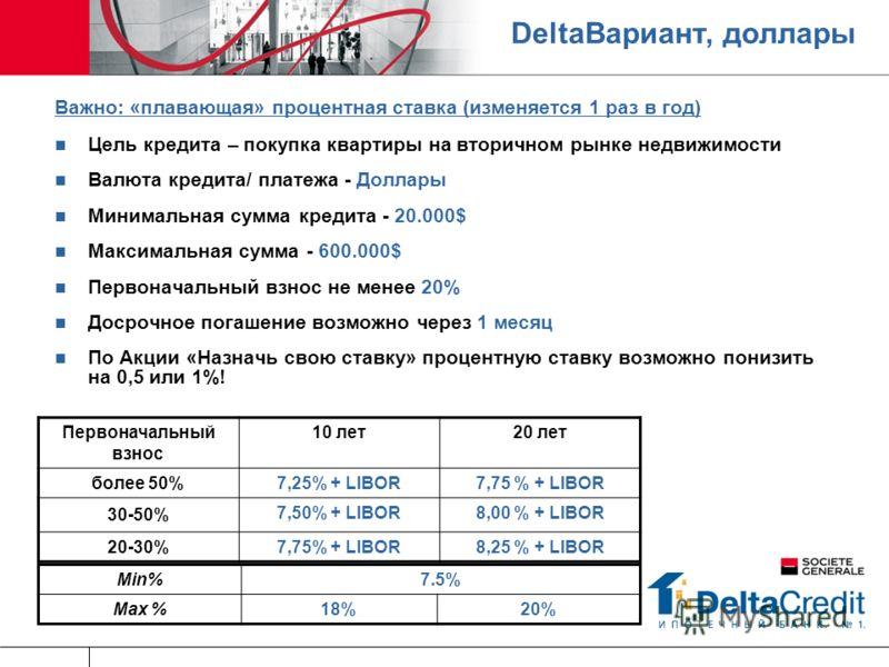 DeltaВариант, доллары Важно: «плавающая» процентная ставка (изменяется 1 раз в год) Цель кредита – покупка квартиры на вторичном рынке недвижимости Валюта кредита/ платежа - Доллары Минимальная сумма кредита - 20.000$ Максимальная сумма - 600.000$ Пе