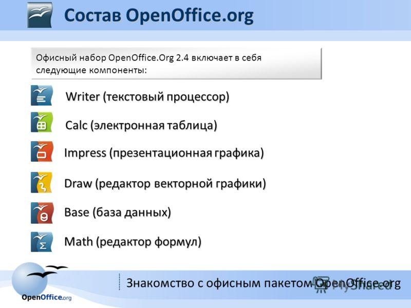 Знакомство с офисным пакетом OpenOffice.org Офисный набор OpenOffice.Org 2.4 включает в себя следующие компоненты: Writer (текстовый процессор) Calc (электронная таблица) Impress (презентационная графика) Draw (редактор векторной графики) Base (база