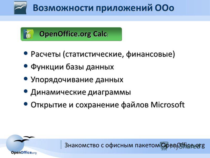 Знакомство с офисным пакетом OpenOffice.org OpenOffice.org Calc : Расчеты (статистические, финансовые) Расчеты (статистические, финансовые) Функции базы данных Функции базы данных Упорядочивание данных Упорядочивание данных Динамические диаграммы Дин
