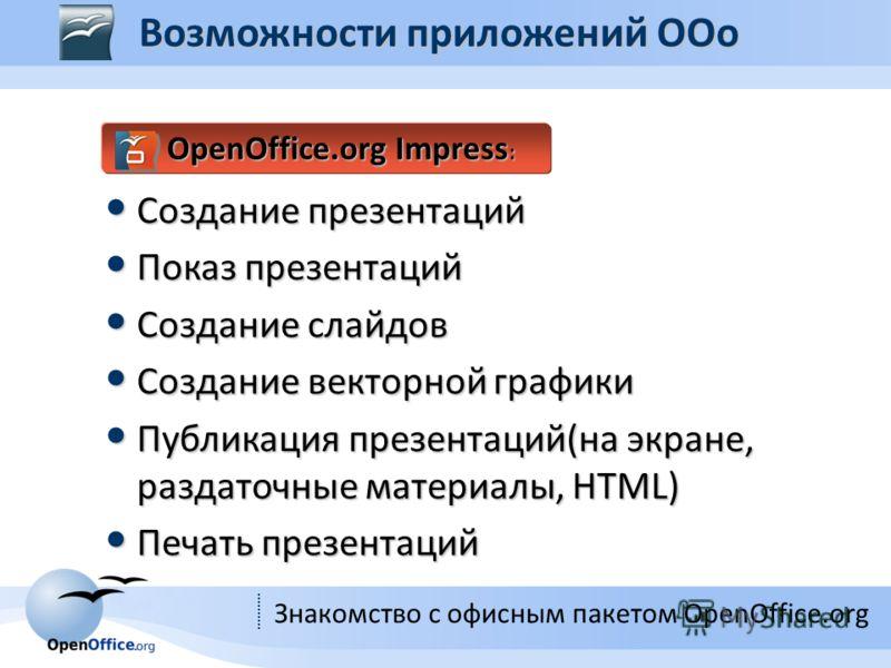 Знакомство с офисным пакетом OpenOffice.org OpenOffice.org Impress : Создание презентаций Создание презентаций Показ презентаций Показ презентаций Создание слайдов Создание слайдов Создание векторной графики Создание векторной графики Публикация през