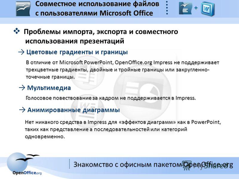 Знакомство с офисным пакетом OpenOffice.org Проблемы импорта, экспорта и совместного использования презентаций Цветовые градиенты и границы В отличие от Microsoft PowerPoint, OpenOffice.org Impress не поддерживает трехцветные градиенты, двойные и тро