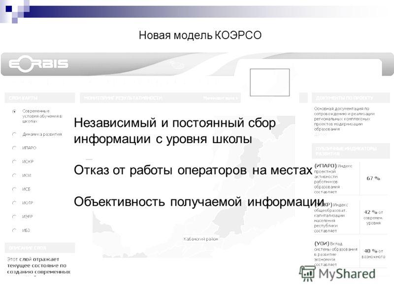 Новая модель КОЭРСО Независимый и постоянный сбор информации с уровня школы Отказ от работы операторов на местах Объективность получаемой информации