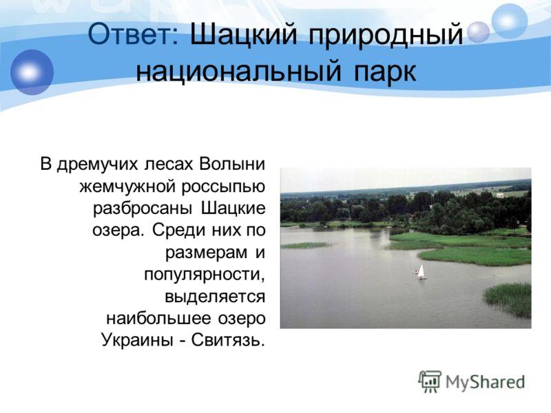 Ответ: Шацкий природный национальный парк В дремучих лесах Волыни жемчужной россыпью разбросаны Шацкие озера. Среди них по размерам и популярности, выделяется наибольшее озеро Украины - Свитязь.