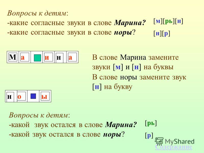 Миаан оы Вопросы к детям: -какие согласные звуки в слове Марина? -какие согласные звуки в слове норы? [м][рь][н] [н][р] В слове Марина замените звуки [м] и [н] на буквы В слове норы замените звук [н] на букву н Вопросы к детям: -какой звук остался в