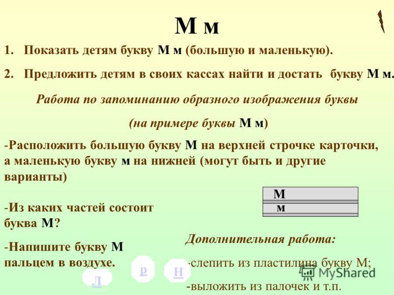 М м 1.Показать детям букву М м (большую и маленькую). 2.Предложить детям в своих кассах найти и достать букву М м. Работа по запоминанию образного изображения буквы (на примере буквы М м) -Расположить большую букву М на верхней строчке карточки, а ма