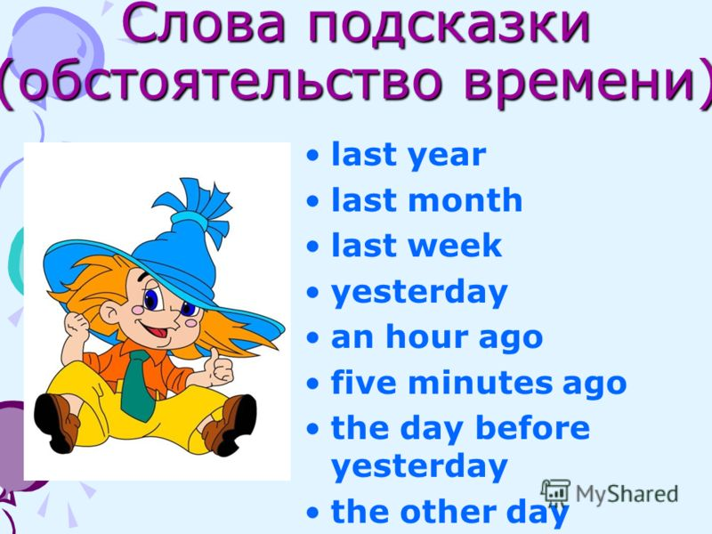 Слова подсказки (обстоятельство времени) last year last month last week yesterday an hour ago five minutes ago the day before yesterday the other day