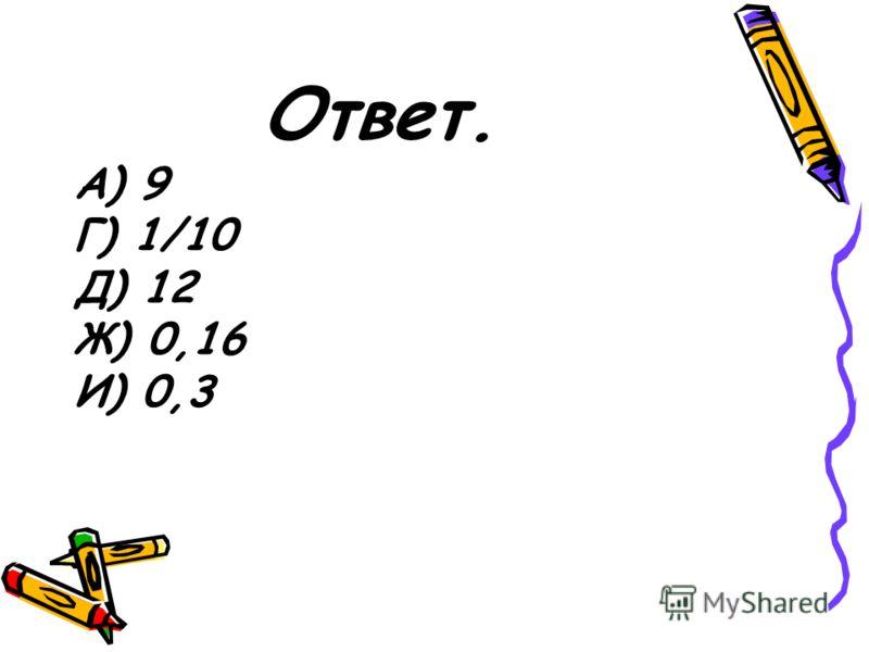 Ответ. А) 9 Г) 1/10 Д) 12 Ж) 0,16 И) 0,3