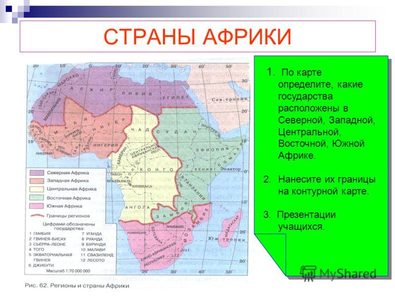 СТРАНЫ АФРИКИ 1. По карте определите, какие государства расположены в Северной, Западной, Центральной, Восточной, Южной Африке. 2.Нанесите их границы на контурной карте. 3. Презентации учащихся. 1. По карте определите, какие государства расположены в