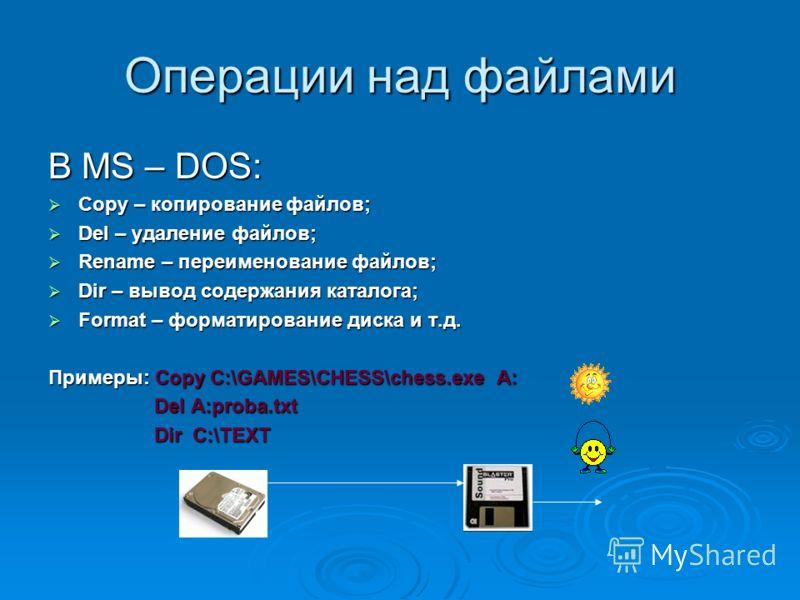 Операции над файлами В MS – DOS: Copy – копирование файлов; Copy – копирование файлов; Del – удаление файлов; Del – удаление файлов; Rename – переименование файлов; Rename – переименование файлов; Dir – вывод содержания каталога; Dir – вывод содержан