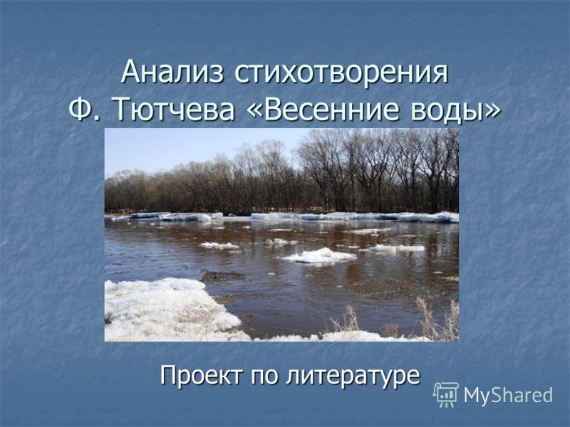 Анализ стихотворения Ф. Тютчева «Весенние воды» Проект по литературе