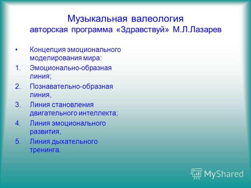 Музыкальная валеология авторская программа «Здравствуй» М.Л.Лазарев Концепция эмоционального моделирования мира: 1.Эмоционально-образная линия; 2.Познавательно-образная линия, 3.Линия становления двигательного интеллекта; 4.Линия эмоционального разви