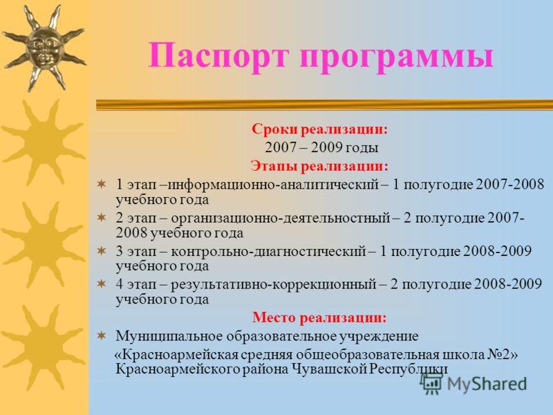 Паспорт программы Сроки реализации: 2007 – 2009 годы Этапы реализации: 1 этап –информационно-аналитический – 1 полугодие 2007-2008 учебного года 2 этап – организационно-деятельностный – 2 полугодие 2007- 2008 учебного года 3 этап – контрольно-диагнос