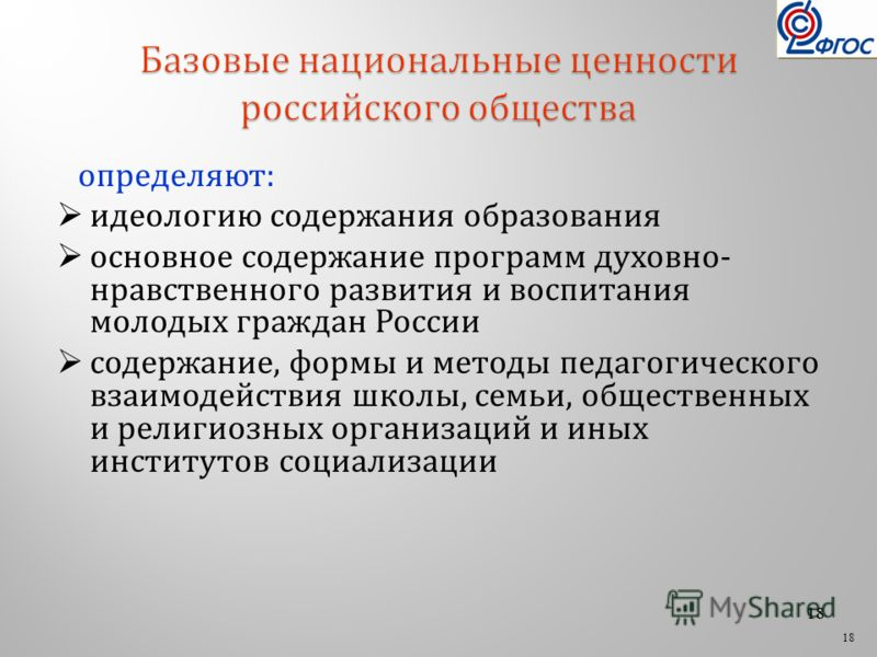 18 определяют: идеологию содержания образования основное содержание программ духовно- нравственного развития и воспитания молодых граждан России содержание, формы и методы педагогического взаимодействия школы, семьи, общественных и религиозных органи