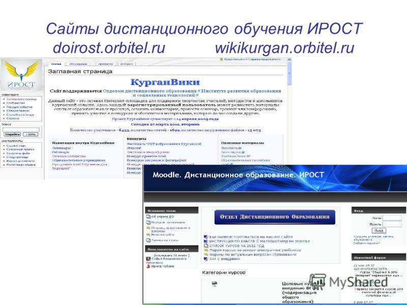 Сайты дистанционного обучения ИРОСТ doirost.orbitel.ru wikikurgan.orbitel.ru
