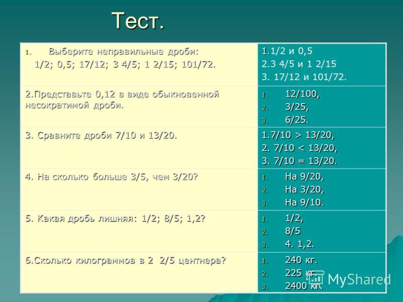 Тест. 1. Выберите неправильные дроби: 1/2; 0,5; 17/12; 3 4/5; 1 2/15; 101/72. 1/2; 0,5; 17/12; 3 4/5; 1 2/15; 101/72. 1. 1.1/2 и 0,5 2.3 4/5 и 1 2/15 3. 17/12 и 101/72. 2.Представьте 0,12 в виде обыкновенной несократимой дроби. 1. 12/100, 2. 3/25, 3.