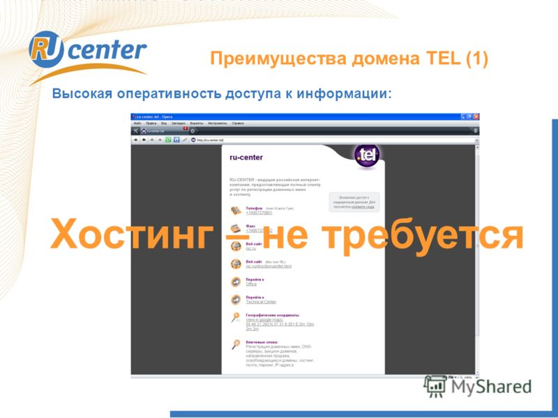 Преимущества домена TEL (1) Высокая оперативность доступа к информации: Хостинг – не требуется