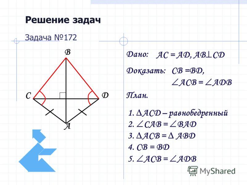 Решение задач Дано: Доказать: План. Задача 172 AC = AD, AB CD CB =BD, ACB = ADB 1. ACD – равнобедренный 2. CAB = BAD 3. ACB = ABD 4. CB = BD 5. ACB = ADB A B DC