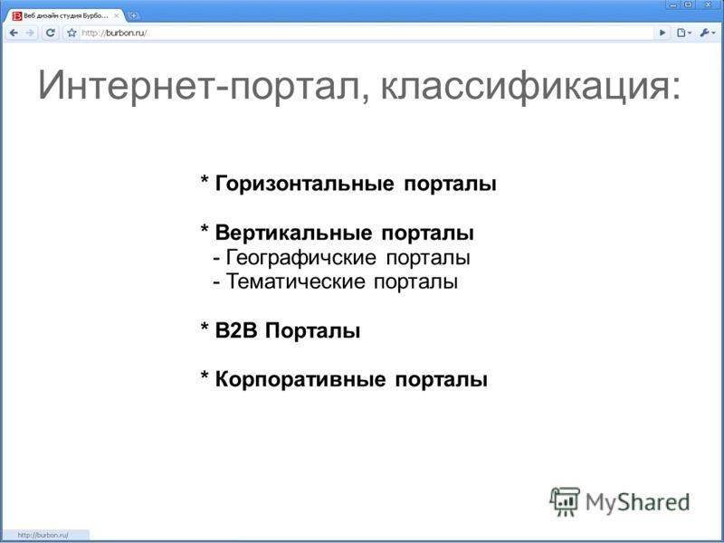Интернет-портал, классификация: * Горизонтальные порталы * Вертикальные порталы - Географичские порталы - Тематические порталы * В2В Порталы * Корпоративные порталы