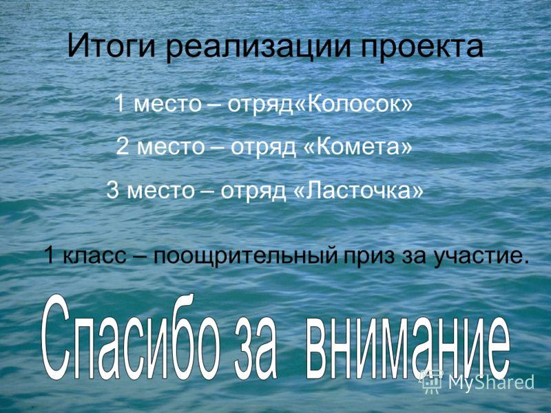 Итоги реализации проекта 1 место – отряд«Колосок» 2 место – отряд «Комета» 3 место – отряд «Ласточка» 1 класс – поощрительный приз за участие.
