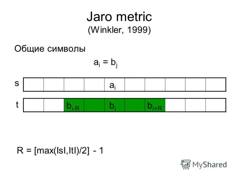 Jaro metric (Winkler, 1999) Общие символы a i = b j R = [max(IsI,ItI)/2] - 1 a i b i-R b i b i+R s t