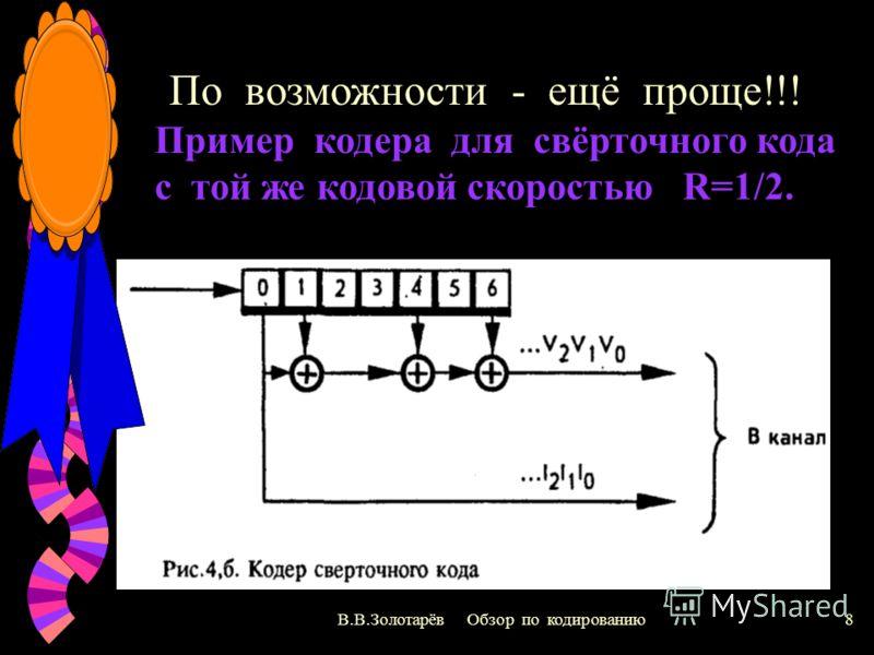 В.В.Золотарёв Обзор по кодированию7 Простейший кодер для блокового кода, исправляющего 2 ошибки! Так задаем избыточность (скорость); R=1/2