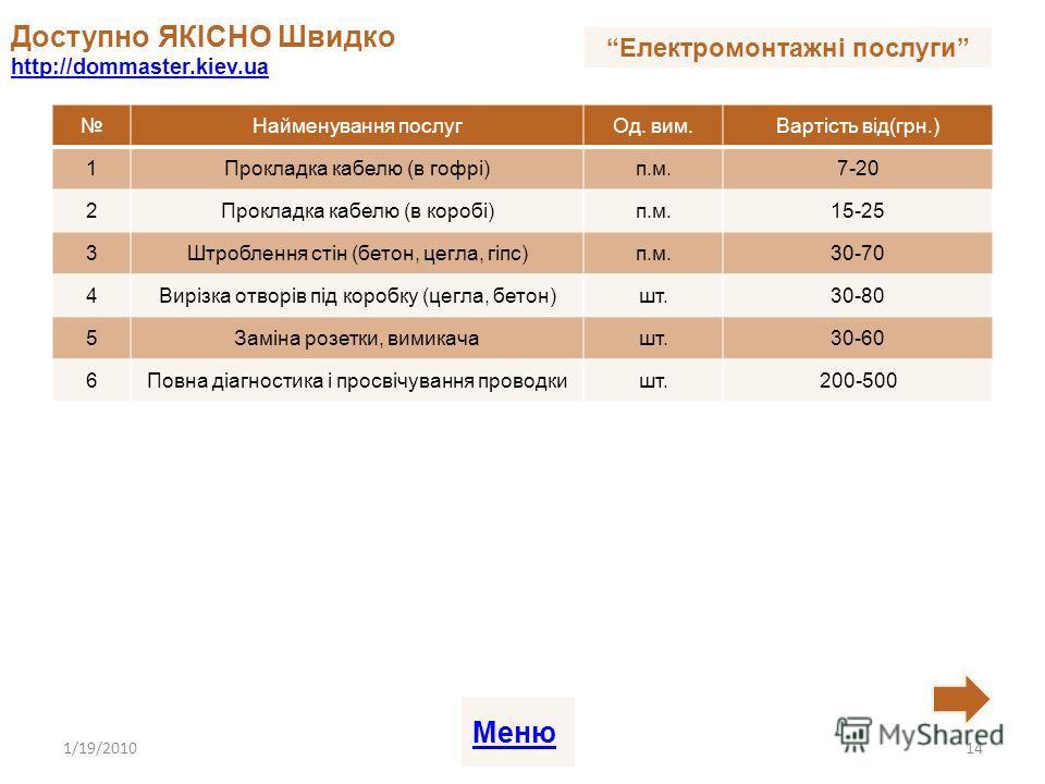 Найменування послугОд. вим.Вартість від(грн.) 1Прокладка кабелю (в гофрі)п.м.7-20 2Прокладка кабелю (в коробі)п.м.15-25 3Штроблення стін (бетон, цегла, гіпс)п.м.30-70 4Вирізка отворів під коробку (цегла, бетон)шт.30-80 5Заміна розетки, вимикачашт.30-