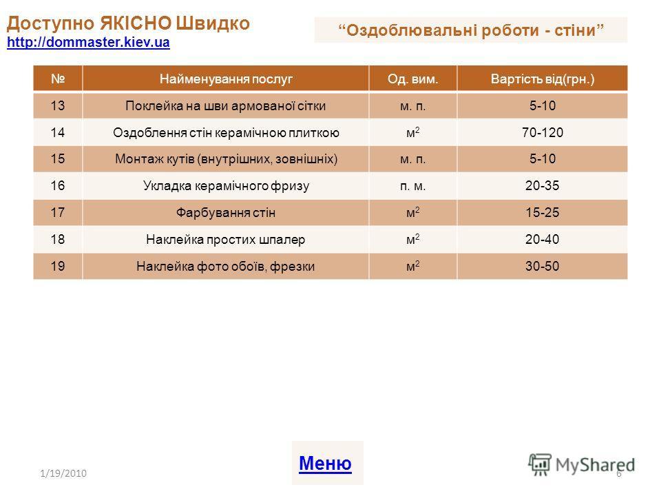 Найменування послугОд. вим.Вартість від(грн.) 13Поклейка на шви армованої сітким. п.5-10 14Оздоблення стін керамічною плиткоюм2м2 70-120 15Монтаж кутів (внутрішних, зовнішніх)м. п.5-10 16Укладка керамічного фризуп. м.20-35 17Фарбування стінм2м2 15-25