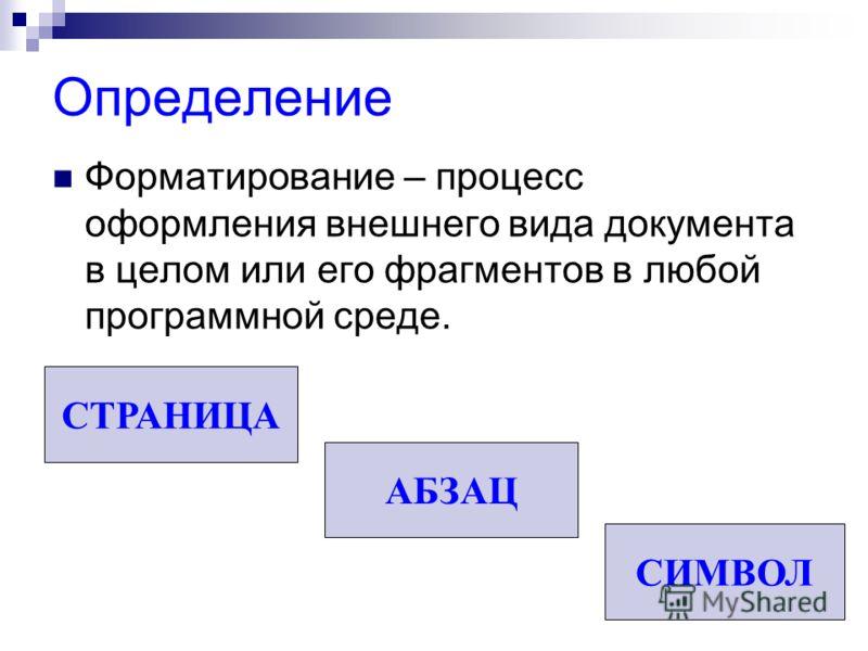 Определение Форматирование – процесс оформления внешнего вида документа в целом или его фрагментов в любой программной среде. СТРАНИЦА АБЗАЦ СИМВОЛ