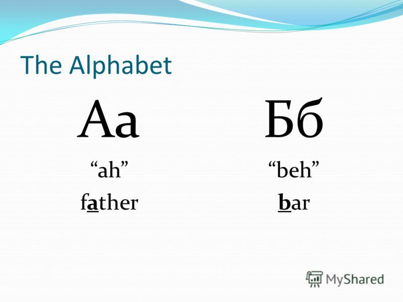 The Alphabet Аа ah father Бб beh bar