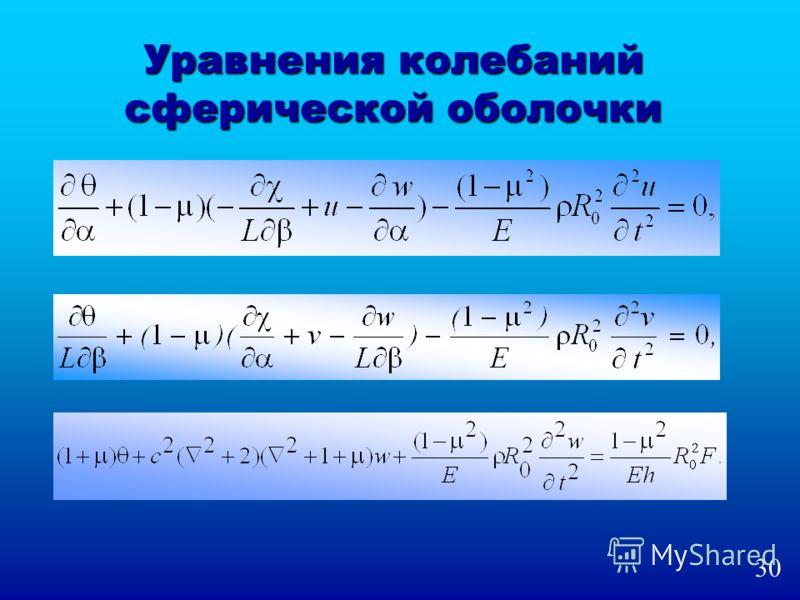 Уравнения колебаний сферической оболочки 30