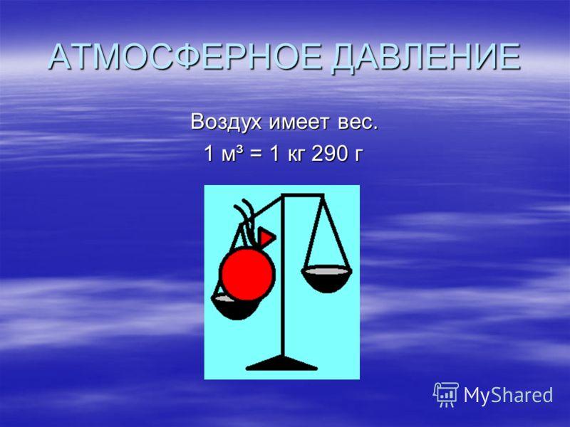 АТМОСФЕРНОЕ ДАВЛЕНИЕ Воздух имеет вес. Воздух имеет вес. 1 м³ = 1 кг 290 г 1 м³ = 1 кг 290 г
