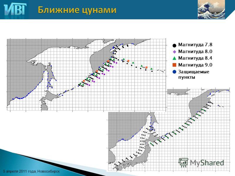 5 апреля 2011 года, Новосибирск Магнитуда 7.8 Магнитуда 8.0 Магнитуда 8.4 Магнитуда 9.0 Защищаемые пункты