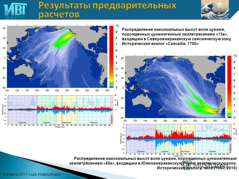 5 апреля 2011 года, Новосибирск Распределение максимальных высот волн цунами, порожденных цунамигенным землетрясением «13а», входящим в Североамериканскую сейсмическую зону. Исторический аналог «Cascadia, 1700» Распределение максимальных высот волн ц