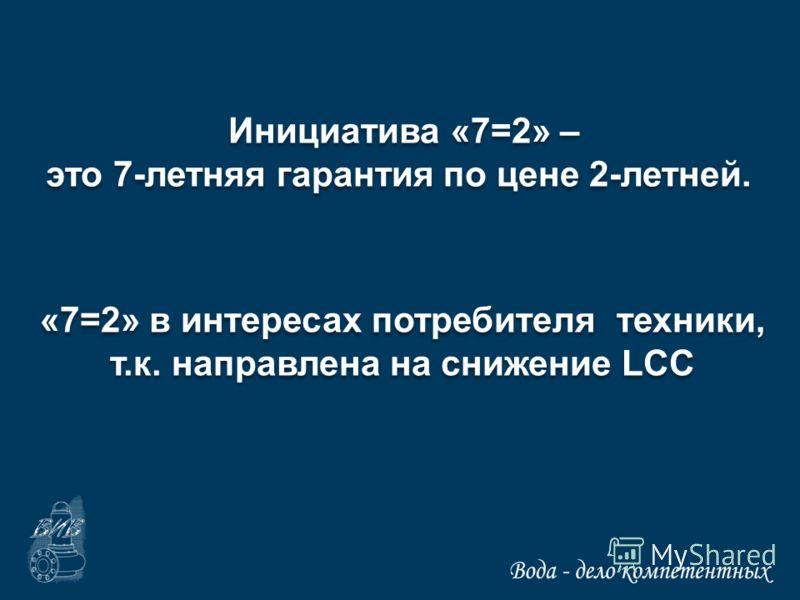 Инициатива «7=2» – это 7-летняя гарантия по цене 2-летней. Инициатива «7=2» – это 7-летняя гарантия по цене 2-летней. «7=2» в интересах потребителя техники, т.к. направлена на снижение LCC «7=2» в интересах потребителя техники, т.к. направлена на сни