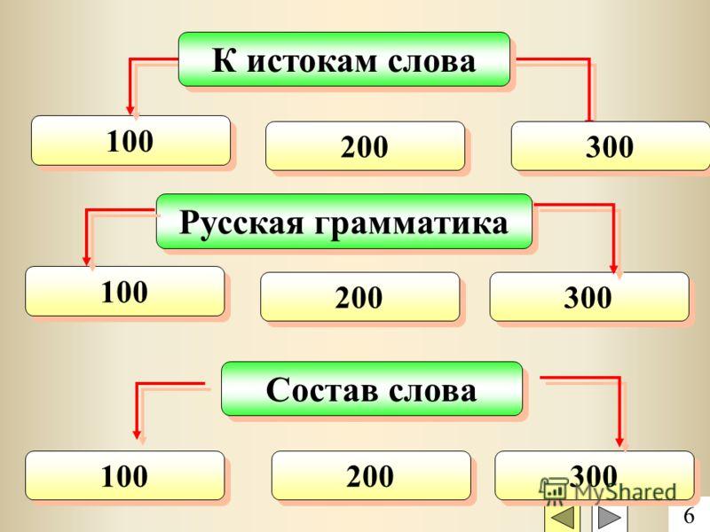 100 К истокам слова 6 200 300 Русская грамматика Состав слова 100 200 300 200 100