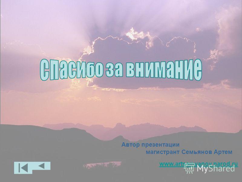 Автор презентации магистрант Семьянов Артем www.artsemyanov.narod.ru