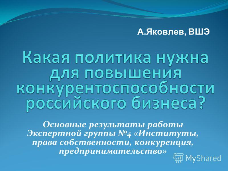 Основные результаты работы Экспертной группы 4 «Институты, права собственности, конкуренция, предпринимательство» А.Яковлев, ВШЭ