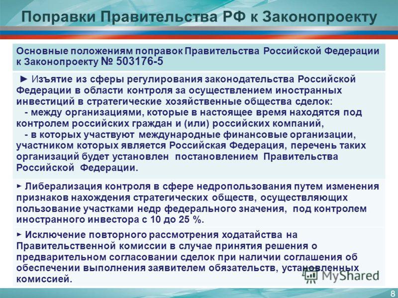 8 Основные положениям поправок Правительства Российской Федерации к Законопроекту 503176-5 Изъятие из сферы регулирования законодательства Российской Федерации в области контроля за осуществлением иностранных инвестиций в стратегические хозяйственные