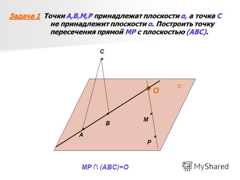 Задача 1 Точки А,В,М,Р принадлежат плоскости α, а точка С не принадлежит плоскости α. Построить точку пересечения прямой МР с плоскостью (АВС). C A B P M α O MP (ABC)=O