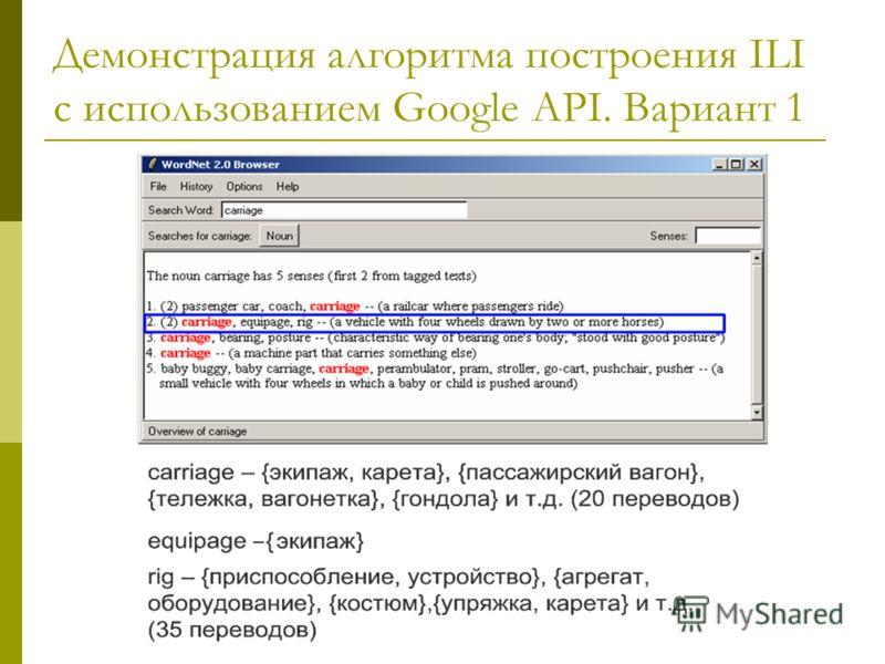 Демонстрация алгоритма построения ILI с использованием Google API. Вариант 1