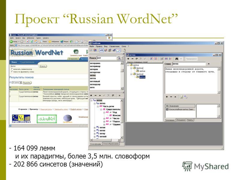 Проект Russian WordNet - 164 099 лемм и их парадигмы, более 3,5 млн. словоформ - 202 866 синсетов (значений)