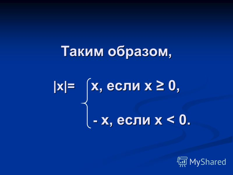Таким образом, |x|= x, если x 0, - x, если x < 0.