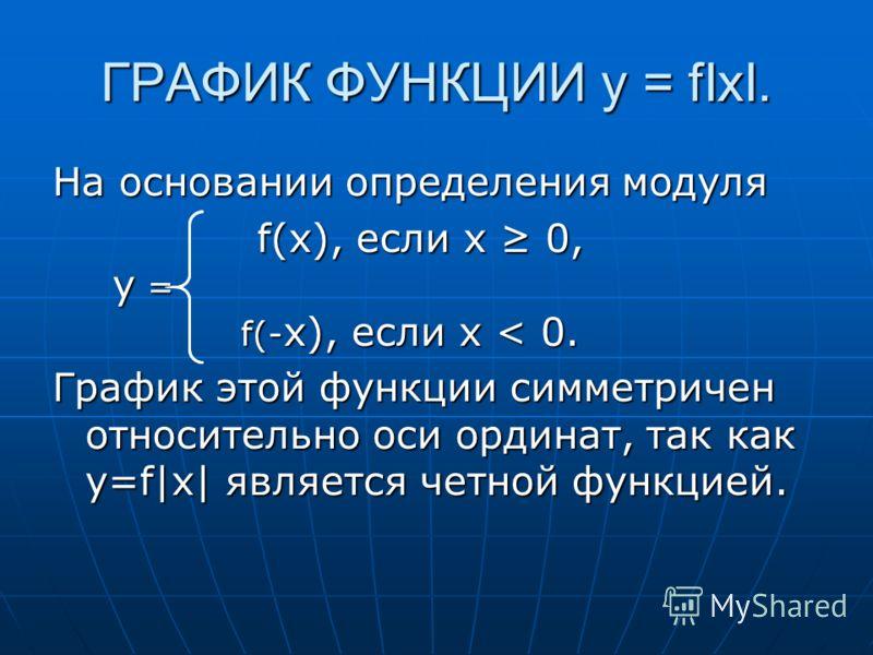 ГРАФИК ФУНКЦИИ y = fIxI. На основании определения модуля f(x), если x 0, y = f(- x), если x < 0. f(x), если x 0, y = f(- x), если x < 0. График этой функции симметричен относительно оси ординат, так как y=f|x| является четной функцией.
