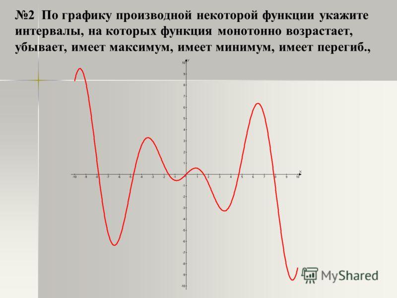 2 По графику производной некоторой функции укажите интервалы, на которых функция монотонно возрастает, убывает, имеет максимум, имеет минимум, имеет перегиб.,