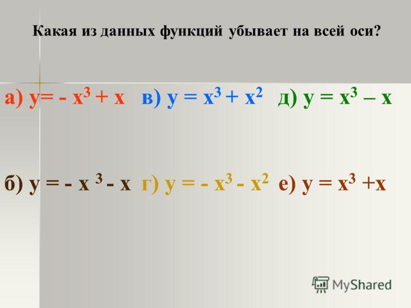 Какая из данных функций убывает на всей оси? а) y= - x 3 + xв) y = x 3 + x 2 д) у = x 3 – x б) y = - x 3 - xг) y = - x 3 - x 2 е) у = x 3 +x