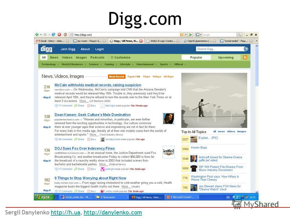 Digg.com Sergii Danylenko http://h.ua, http://danylenko.comhttp://h.uahttp://danylenko.com