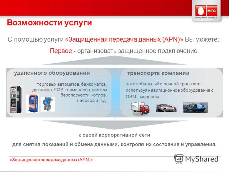 Слайд 3«Защищенная передача данных (APN)» С помощью услуги «Защищенная передача данных (APN)» Вы можете: Первое - организовать защищенное подключение к своей корпоративной сети для снятия показаний и обмена данными, контроля их состояния и управления