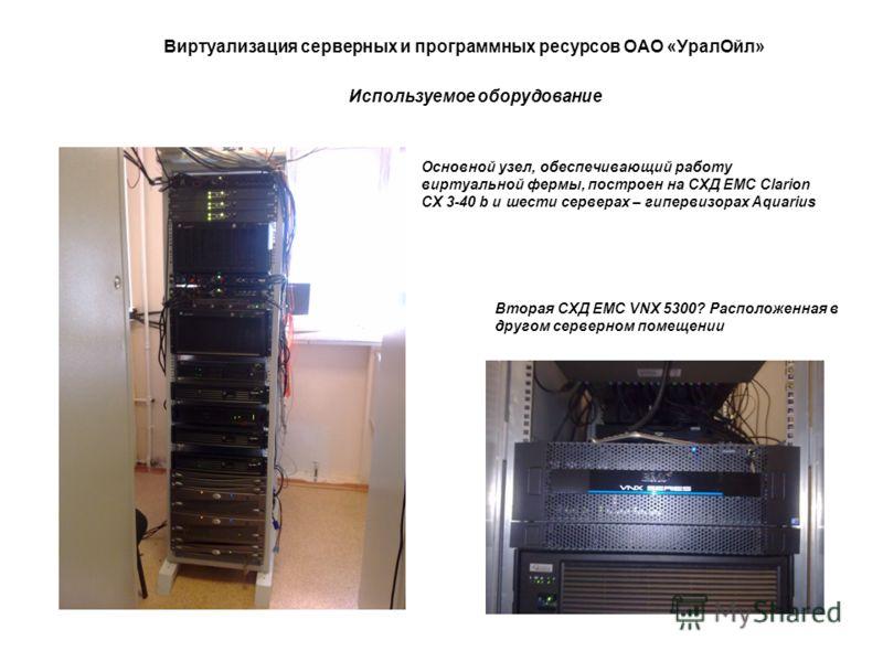 Виртуализация серверных и программных ресурсов ОАО «УралОйл» Используемое оборудование Основной узел, обеспечивающий работу виртуальной фермы, построен на СХД EMC Clarion CX 3-40 b и шести серверах – гипервизорах Aquarius Вторая СХД EMC VNX 5300? Рас