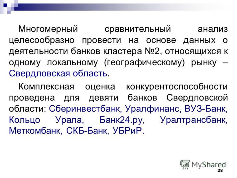 28 Многомерный сравнительный анализ целесообразно провести на основе данных о деятельности банков кластера 2, относящихся к одному локальному (географическому) рынку – Свердловская область. Комплексная оценка конкурентоспособности проведена для девят